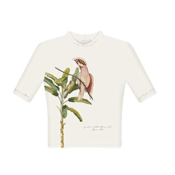 Blusa manga curta gola alta estampada - LEZALEZ Copia