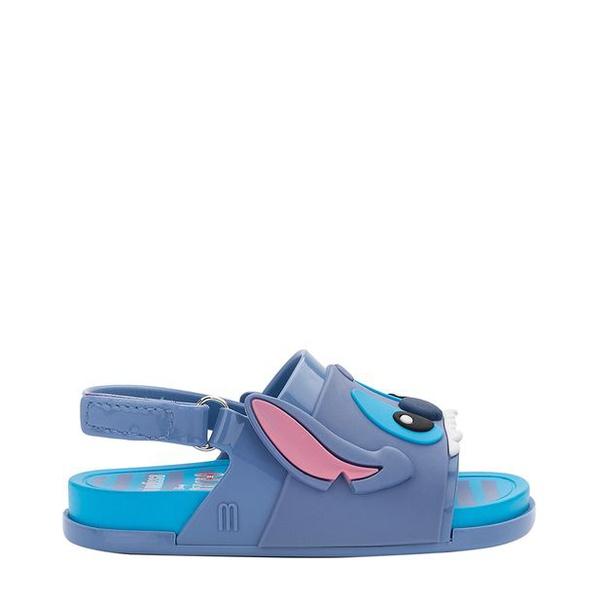 Mini Melissa Beach Slide Sandal + Stitch Infantil Azul