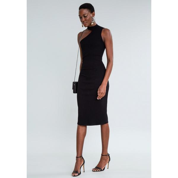 Vestido Mid Canelado Corte Assimétrico Lezalez L4233