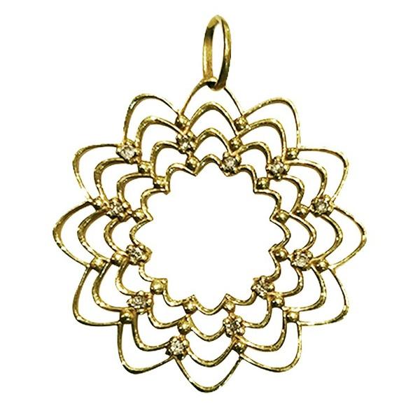 Pingente Mandala Cravejada em ouro 18k