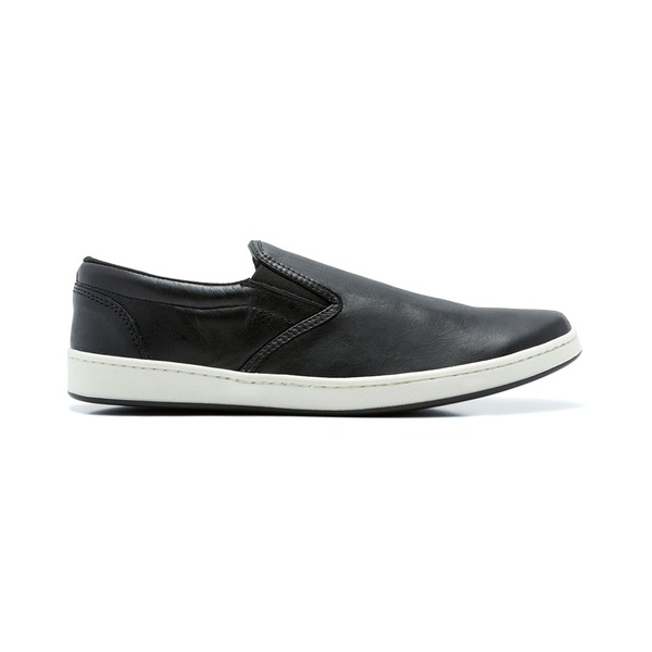 Tenis Casual Slip On Quebec John Black Couro Legítimo