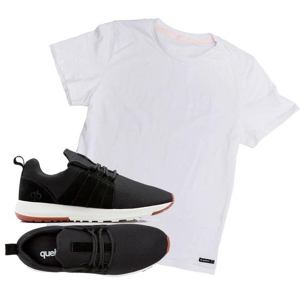 Combo Tênis Quebec Rocket Preto + Camiseta Quebec Básica Branca