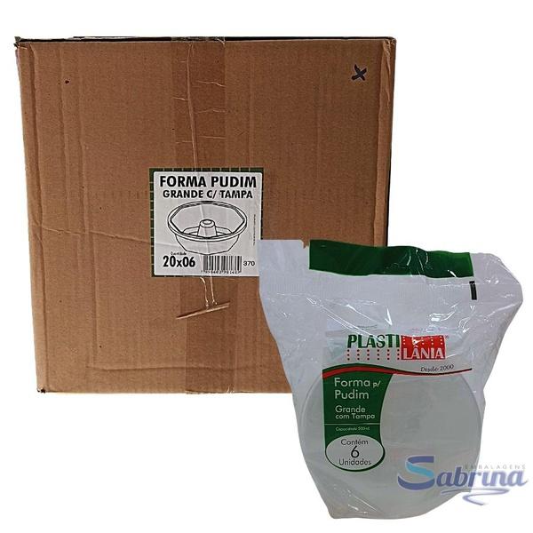Forma para Pudim Grande 500ml com tampa Forneável Caixa 20x6und