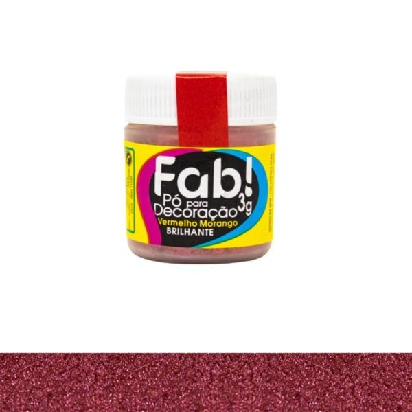 Pó para Decoração Vermelho Morango Fab 3g loja sabrina