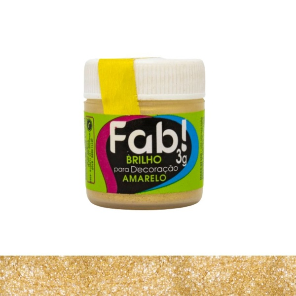 Brilho para Decoração Amarelo Fab 3g