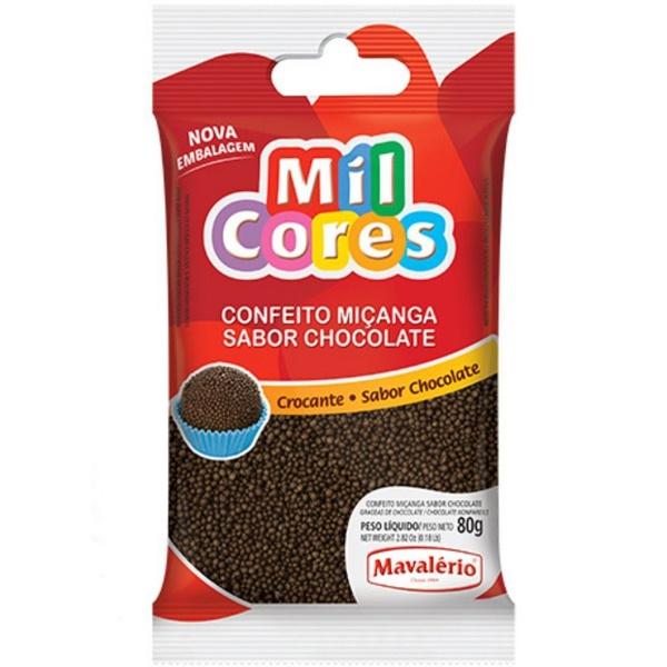 Confeito 80g Miçanga Chocolate Mavalério