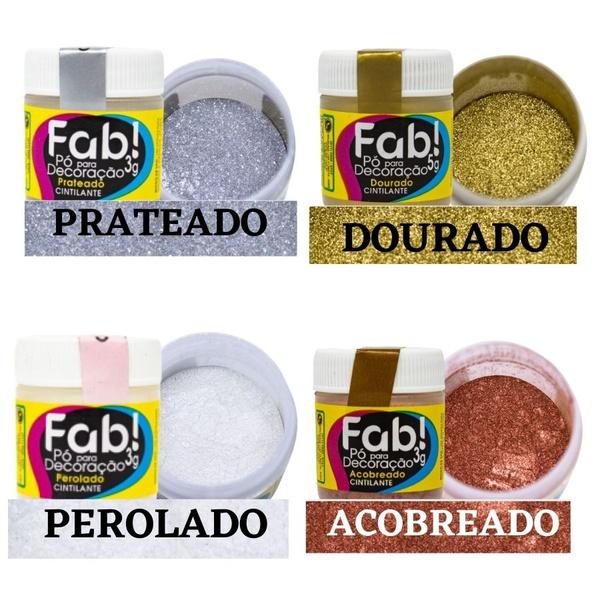 Pó para Decoração Brilhante Fab 4 und- Dourado/Prata/Perolado/Acobreado