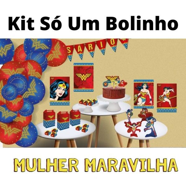 Kit Só Um Bolinho Mulher Maravilha 89 peças Festcolor