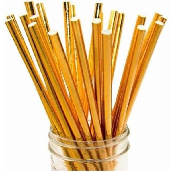 Canudo de Papel Metalizado Dourado c/15und Silverfestas