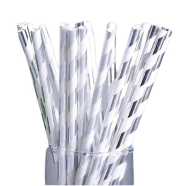 Canudo de Papel Decorado Branco com Listras Prata c/15und Silverfestas