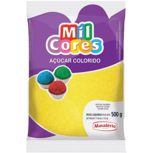 Açúcar Colorido Amarelo 500g Mavalério