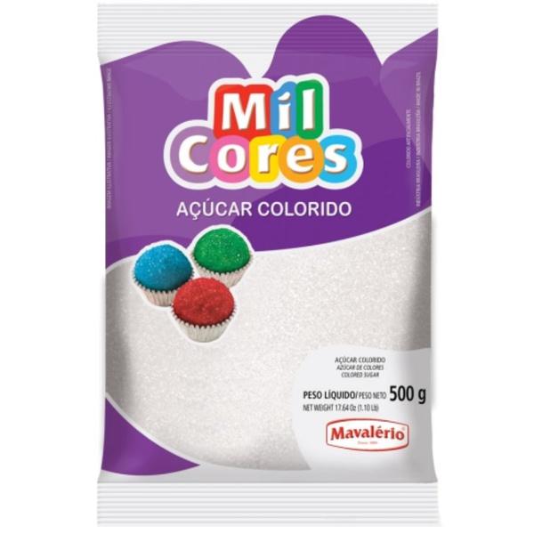Açúcar Colorido Branco 500g Mavalério