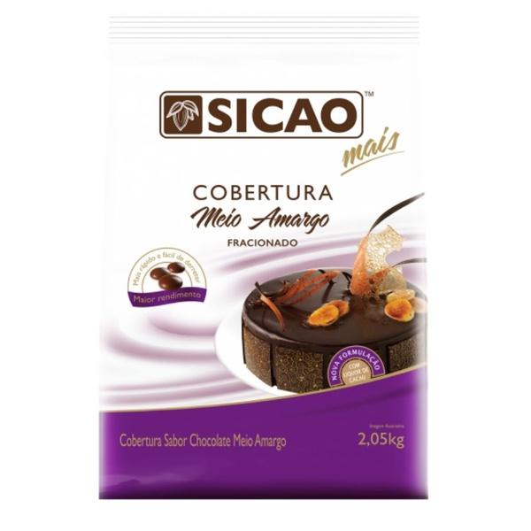 Cobertura Chocolate Sicao Mais Meio Amargo 2,05kg em Gotas