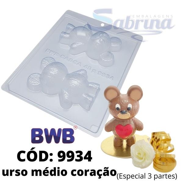 Urso Médio Coração BWB CÓD:9934 Forma De Chocolate Acetato com Silicone Especial (3 Partes)