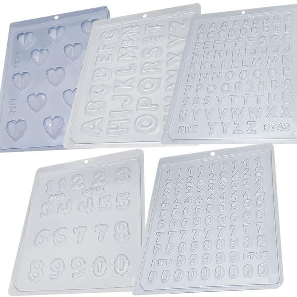 Kit 5 Formas Simples BWB 1 Coração Lapidado Mini+1 Alfabeto + 1 Alfabeto Mini + 1 Número + 1 Número Mini