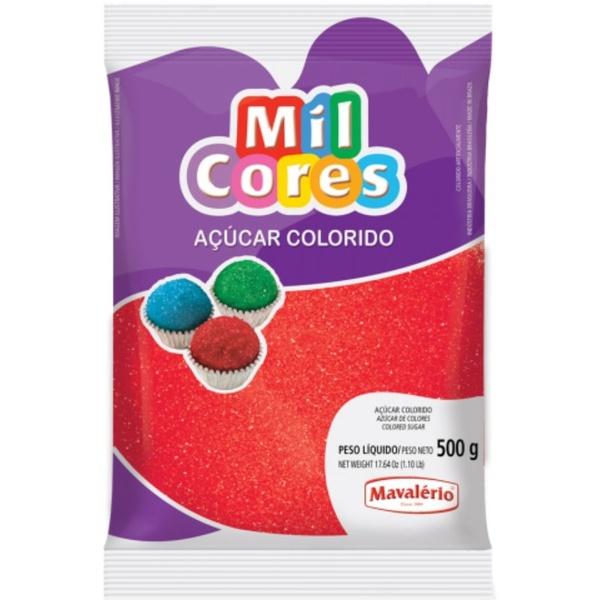 Açúcar Colorido Vermelho 500g Mavalério