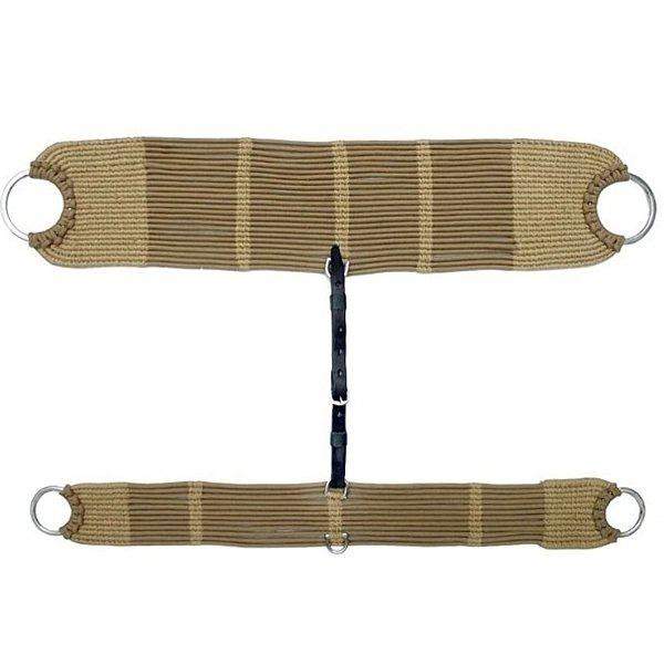 Conjunto de Barrigueira e Cilha de Lã c/ Argolas em Aço Inox (Bege)