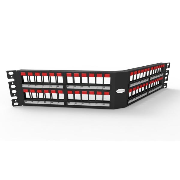 Patch panel descarregado 48p angular 2u blindado