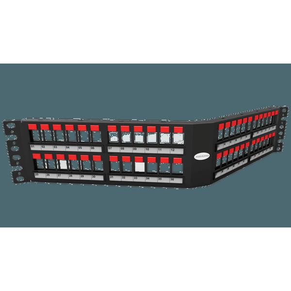 Patch panel descarregado 48p angular 2u
