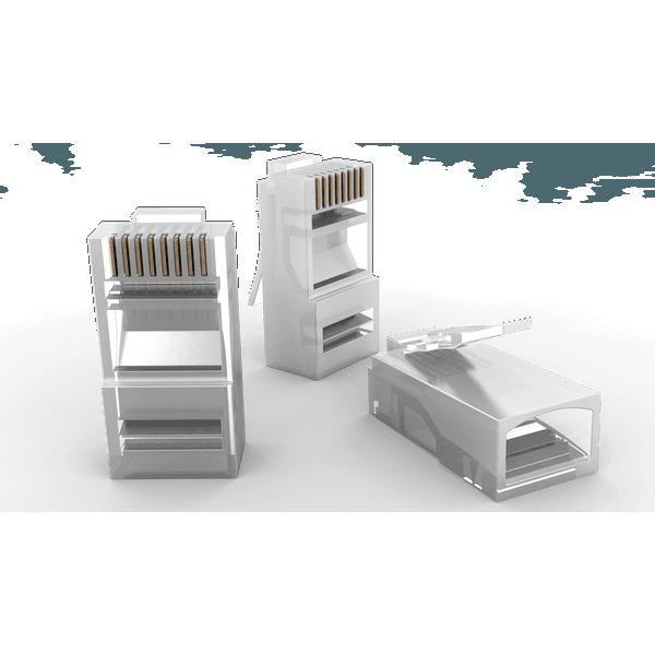 Pacote com 50 conectores rj-45 macho cat.5e para cabo sólido e flexivel