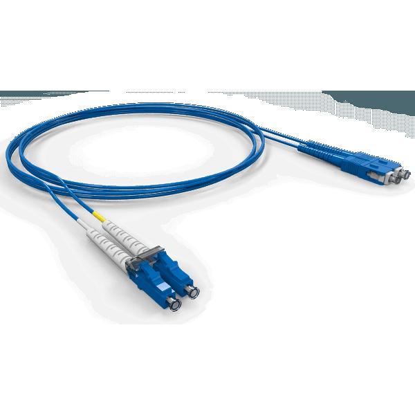 Cordao duplex conectorizado sm lc-upc/sc-upc 15.0m - cog - azul