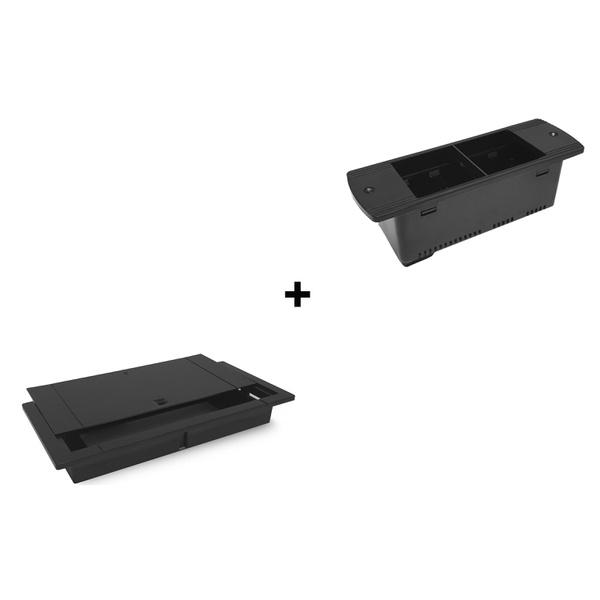 COLAR/TAMPA SLIDE BOX ABS C/ RÉGUA SÉRIE 170 (SEM BLOCOS) - PRETO