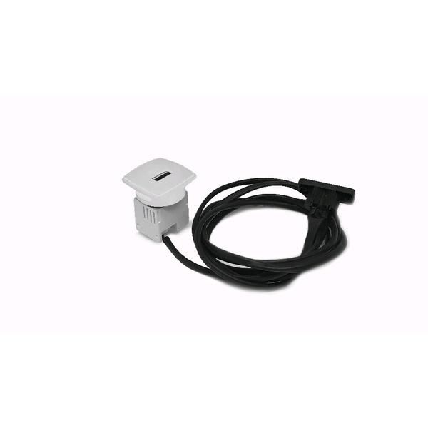 CAIXA MINI USB CHARGER 5V 2.1A C/ CABO DE ESPERA + CABO DE ALIM. 1,5M - PRATA