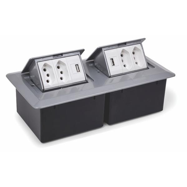 CAIXA DE MESA PRATIK C/ 4 TOMADAS 10A + 2 USB (S/ CABO ALIM) - CINZA