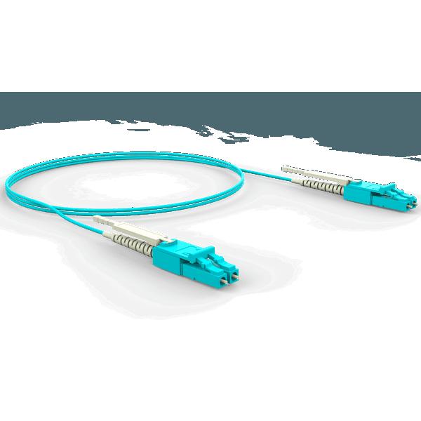 Cordao duplex conectorizado om4 lc-upc/lc-upc 4.0m - lszh - acqua (a - b)