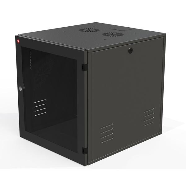 Ecoflex rack de parede c/ porta acrilico 04us 470mm preto