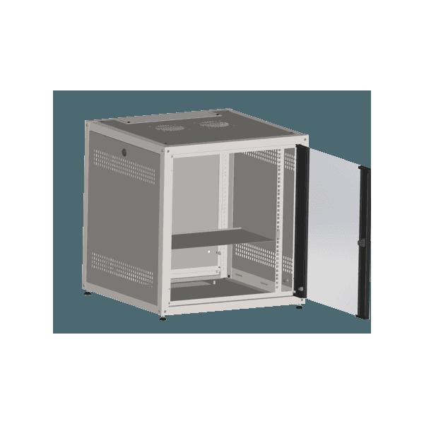 Mini rack 12u x 600 de profundidade + 1 bandeja - preto - gp racks