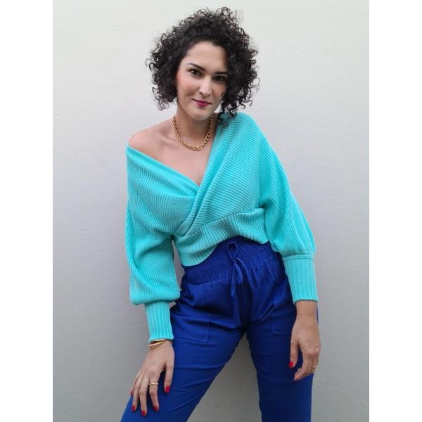 Blusa Tricot Valentina - Azul Piscina