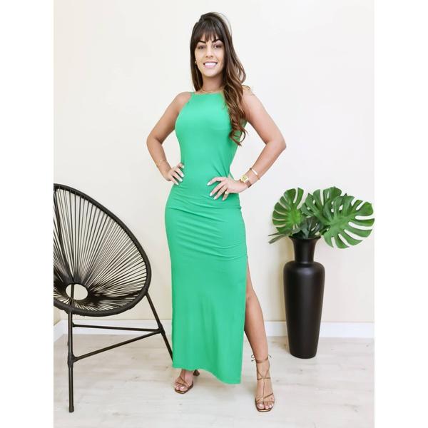 Vestido Longo Costas Nua - Verde Folha