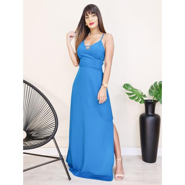 Vestido Longo com Abertura - Azul Petróleo