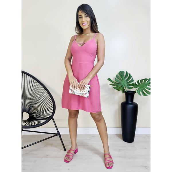Vestido Curto com Abertura - Rosa