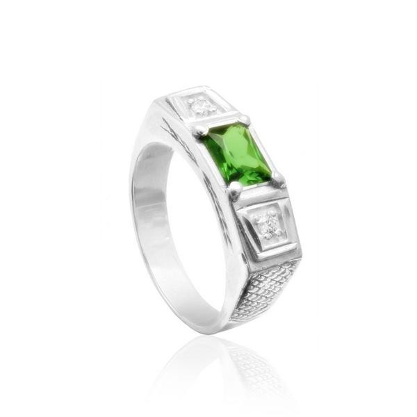 Anel Com Pedra Zircônia Cor Verde Esmeralda