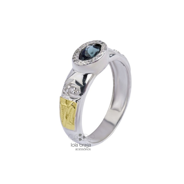 Anel de Formatura Feminino em Prata 950 Símbolos Ouro 18k Pedra Oval P064F