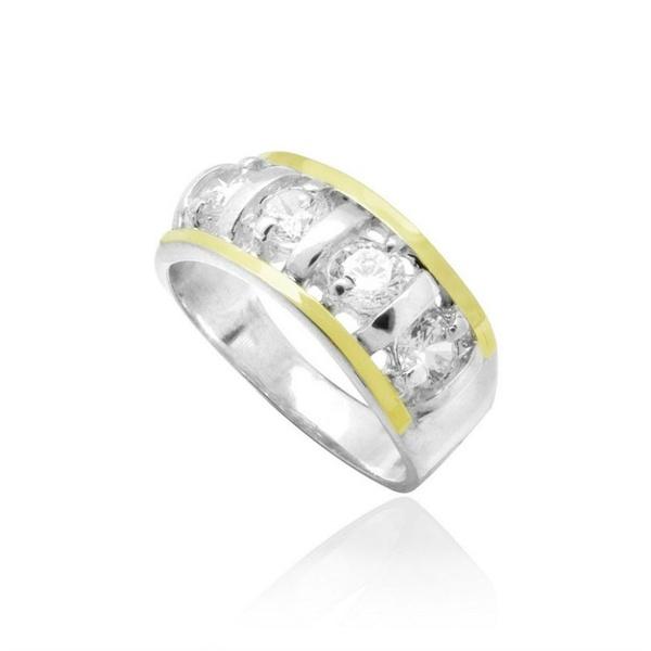 Anel De Prata 950 Pedras Zircônias Apliques Em Ouro - 39072