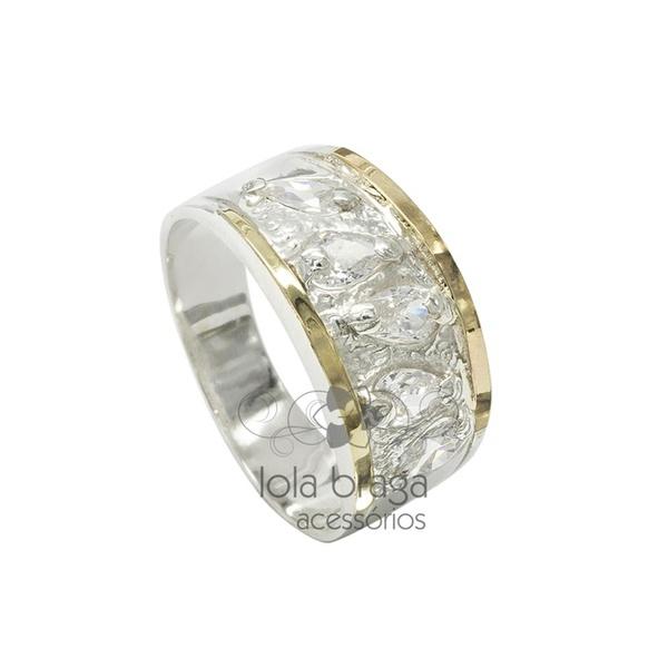 Anel Em Prata Feminino Com Filetes Em Ouro e Zircônias Gota - 39071