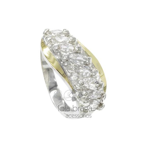 Anel Em Prata 950 Com Filetes Em Ouro e Zircônias - 39011