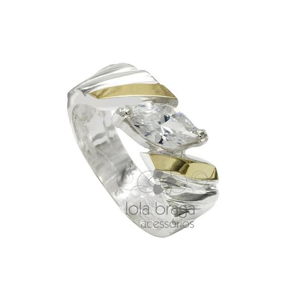 Anel Em Prata 950 Com Zircônia e Filetes Em Ouro - 39025