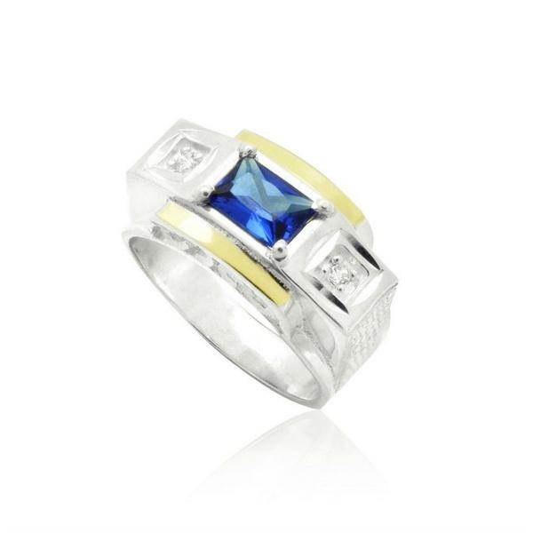 Anel Em Prata Com Zircônias e Apliques Em Ouro - 41016saf