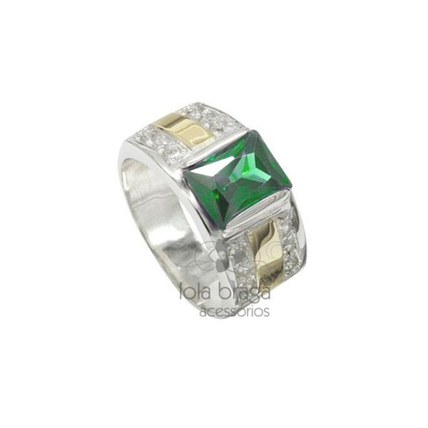 Anel Em Prata Masculino Pedra Zircônia Verde Esmeralda - 41021esm