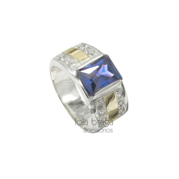 Anel Em Prata Masculino Com Pedra Azul Safira - 41021saf