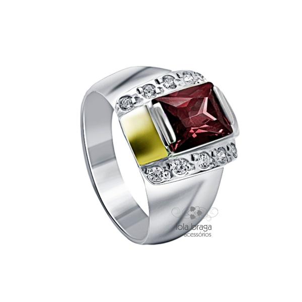 Anel Em Prata 950 Zircônias Cor Rubi 2 Apliques Em Ouro - 41074rub