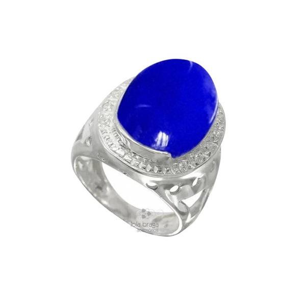 Anel em Prata Feminino com Pedra Natural Dolomita cor Azul Royal