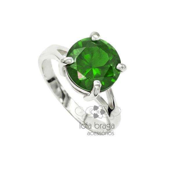Anel Em Prata Feminino Modelo Solitário Com Pedra Zircônia Cor Verde Esmeralda