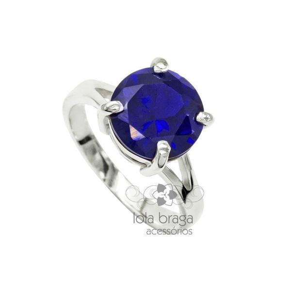 Anel Solitário Compromisso ou Namoro em Prata com Pedra cor Azul Safira