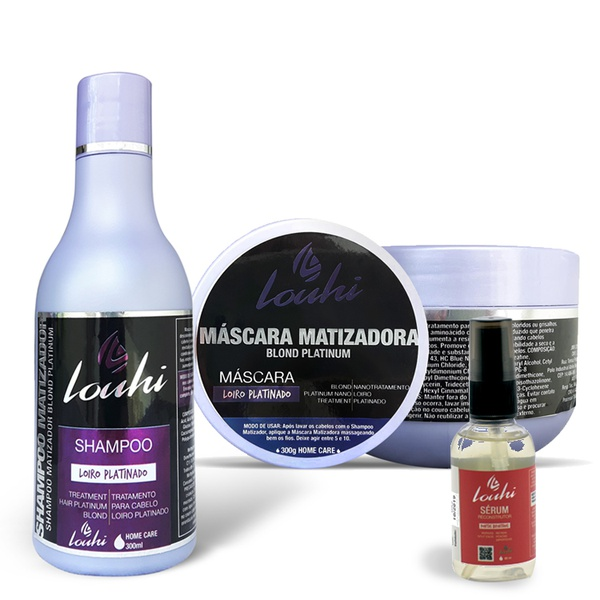Kit Shampoo Matizador 300 ml + Máscara Matizadora 300g + Sérum Reconstrutor 60 ml