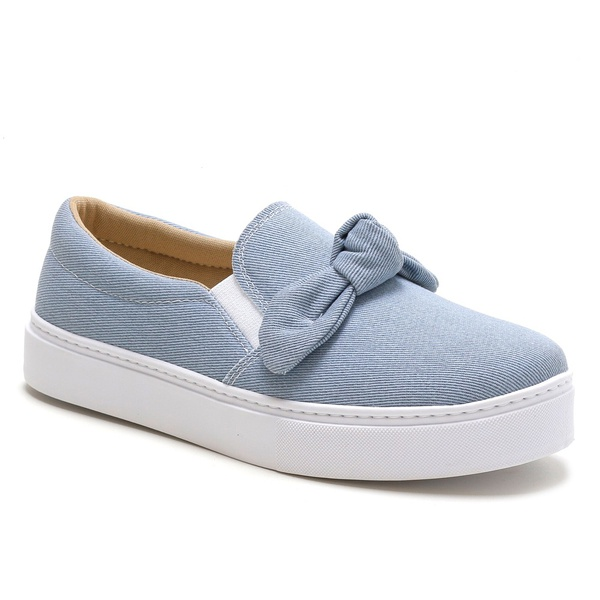 Tênis Slip On Feminino Azul Jeans Laço Conforto